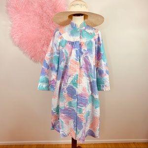 Vtg 70s Pastel Watercolor Robe Dress S M